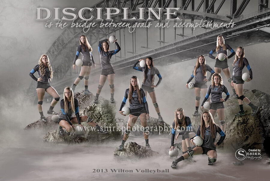 volleyball team poster, volleyball girls, bridge, misty river, sports composit, discipline