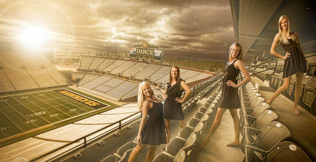 university-of-iowa-football-football-stadium-picture-portrait-custom-background-dance-team-kinick-iowa-hawkeyes-dance-cheer