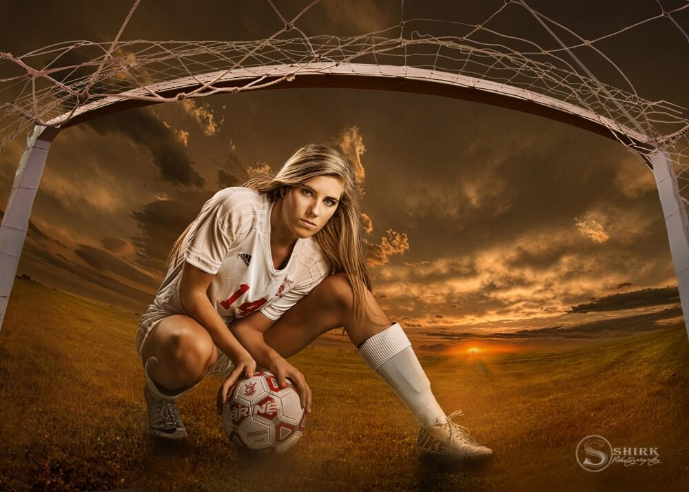 Senior Girl Portraits Soccer Field Golden Sunset Goal Net Clouds Ball