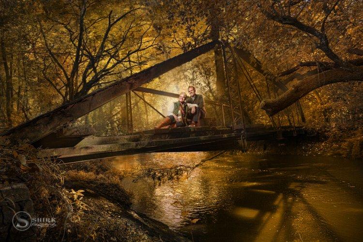 Shirk-Photography-Family-Portraits-Iowa-Creative-Bridge-Engagement-Couple-Trees-Woods