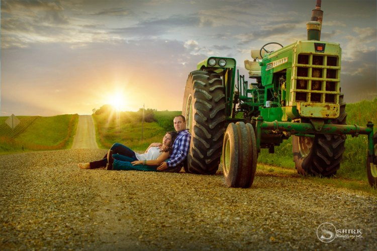 Shirk-Photography-Family-Portraits-Iowa-Creative-Tractor-Engagement-Sunset