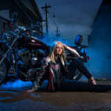 Senior Girl Portraits Alley Motor Cycle Harley Davidson Smoke Leather Heels