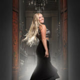 Senior Girl Portraits Hall Archway Black Prom Dress Rusty Doors Chandelier Blonde