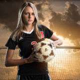 Senior Girl Portraits Soccer Golden Sunset Goal Net Clouds Ball