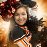Senior Girl Portraits Sun Burst Cheer Lights Sparks Sport Poms Smile
