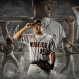 Senior Guy Portraits Baseball Montage Pitcher Fielder Sports Bat Swing Throw Stadium