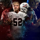 Senior Guy Portraits Football Montage Unique Red White and Blue Stars and Stripes Nike