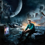 Senior Guy Portraits Gamer Car Epic TV Computer War Urban Tank Helicopter Moon