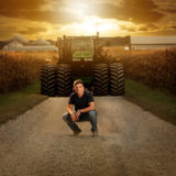 Senior Guy Portraits John Deere Tractor Farm Field Sky Mid West Sunset corn shed barn country